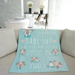 ผ้าห่มเด็ก ใส่ประวัติแรกเกิด ลายปีจอ - Puppy - Mint