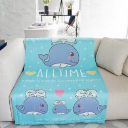 ผ้าห่ม สั่งทำใส่ชื่อ ลายวาฬ / Whale - Turquoise ไซส์ใหญ่ 100x150cm