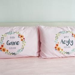 ปลอกหมอนหนุนคู่ พิมพ์ลายเต็มผืน Pink - Watercolour Floral Frame - Grey