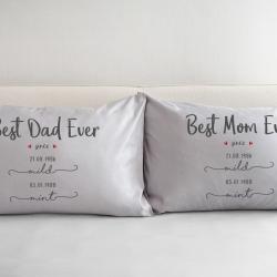 ปลอกหมอนหนุนคู่ สีเทา Best Dad & Mom