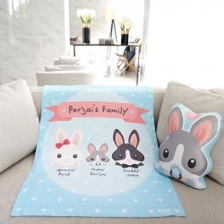 ผ้าห่มเด็ก ใส่ชื่อ ลายกระต่าย สีฟ้า / Rabbit Family - Blue