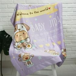 ผ้าห่มเด็ก สั่งทำใส่ชื่อ ลายปีจอ - Puppy - Purple