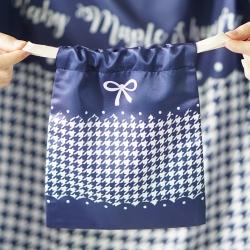 ถุงผ้าซาติน ลาย Houndstooth สี Navy