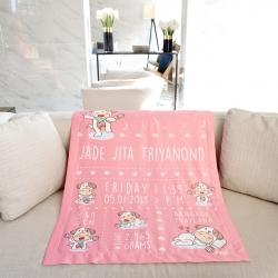 ผ้าห่มเด็ก ใส่ประวัติแรกเกิด ลายปีจอ - Puppy - Pink