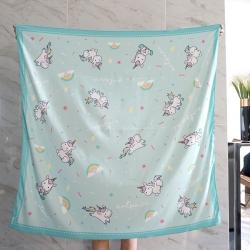 ผ้าพันคอ ลายยูนิคอร์น - Unicorn - Mint - สั่งทำใส่ชื่อ