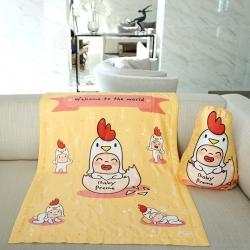 ผ้าห่มเด็ก ใส่ชื่อ ลายกุ๊กไก่ สีเหลือง / Kook Kai - Yellow
