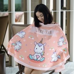 ผ้าคลุมให้นม สั่งทำใส่ชือ ลาย Unicorn - Peach