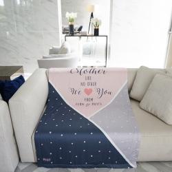 ผ้าห่ม ใส่ชื่อ ลาย Triangle - Pink/Grey/Navy ไซส์ใหญ่ 100x150cm