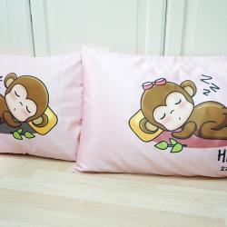 ปลอกหมอนหนุนคู่ พิมพ์ลายเต็มผืน Pink - Sleeping Monkey