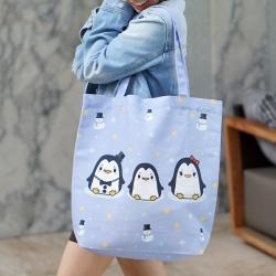 กระเป๋าผ้าแคนวาสพร้อมส่ง ลาย Penguin - Blue