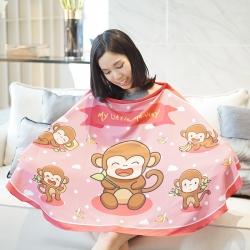 ผ้าคลุมให้นม สั่งทำใส่ชือ ลาย Monkey - Pink