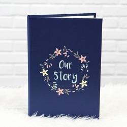 """อัลบั้ม 300 รูป (4x6"""") พร้อมส่ง ใส่ข้อความ Our Story ลาย Flower Frame - Navy"""