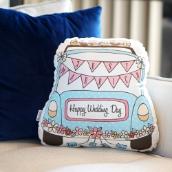 ของขวัญแต่งงาน - หมอนรถแต่งงานสีฟ้า Just Married Car Pillow - Baby Blue