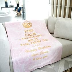ผ้าห่ม ใส่ชื่อ ลายหินอ่อนสีชมพู ไซส์ใหญ่ 100x150cm - Keep Calm
