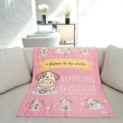 ผ้าห่มเด็ก สั่งทำใส่ชื่อ ลายปีจอ - Puppy - Pink