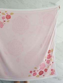 ผ้าพันคอ ลาย กุหลาบ - Rose Scarf - สั่งทำใส่ชื่อ