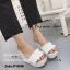 รองเท้าส้นเตารีดแฟชั่นห่อพียู (สีขาว) thumbnail 1