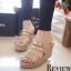 รองเท้าส้นเตารีดคาดทอง Zara Style (สีดำ) thumbnail 2