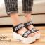 พร้อมส่ง : รองเท้าส้นเตารีดสกีนลาย (สีดำ) thumbnail 3