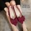 รองเท้าคัทชูสักหลาดนิ่มแต่งโบว์ (สีแดง) thumbnail 2