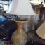 โคมไฟตั้งโต๊ะ โคมไฟดินเผาด่านเกวียน ทำจากแจกันดินเผาด่านเกวียน แกะลายช้างสีน้ำตาล thumbnail 3