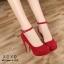 รองเท้าคัทชูส้นสูงแต่งสายรัด (สีแดง) thumbnail 1