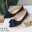 รองเท้าคัทชูส้นแบนกำมะหยี่โบว์มัด (สีกรม) thumbnail 1