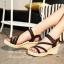 รองเท้าส้นเตารีดลำลองรัดข้อ (สีครีม) thumbnail 5