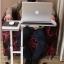 Pre-order โต๊ะทำงาน โต๊ะวางคอมพิวเตอร์ โต๊ะวางแล็ปท้อป ขาคู่ แบบมัลติฟังก์ชั่น ปรับระดับได มีล้อเลื่อน สีขาว thumbnail 3
