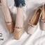 รองเท้าคัทชูส้นเตี้ยสไตล์แฟชั่นเกาหลี (สีครีม) thumbnail 9