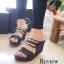 รองเท้าส้นเตารีดคาดทอง Zara Style (สีดำ) thumbnail 1