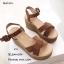 รองเท้าส้นเตารีดส้นปอแต่งสายรัด (สีน้ำตาล) thumbnail 4
