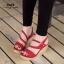 รองเท้าส้นเตารีดกำมะหยี่รัดส้น (สีแดง) thumbnail 2