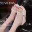 รองเท้าลำลองส้นเตารีดแต่งโบว์ (สีครีม) thumbnail 3