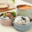Pre-order ปิ่นโตกล่องอาหารกลางวันเก็บความร้อน ปิ่นโตสแตนเลสสตีล หุ้มด้วยพลาสติกสวยงาม 4 ชั้น thumbnail 5