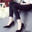 รองเท้าส้นเข็มกำมะหยี่สีดำ thumbnail 3