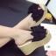 รองเท้าส้นเตารีดลำลองแต่งโบว์ (ครีม) thumbnail 5