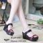 รองเท้าส้นเตารีดทูโทนสไตล์ลำลอง (สีดำ) thumbnail 1
