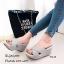 รองเท้าลำลองส้นเตารีดสายไขว้ (สีครีม) thumbnail 6