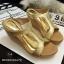 พร้อมส่ง : รองเท้าส้นเตารีด Golden Metalic Platform (สีน้ำตาล) thumbnail 1
