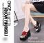 รองเท้าส้นเตารีดปักลายกุหลาบ (สีดำ) thumbnail 2