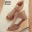 รองเท้าส้นเตารีดสักหลาดแต่งซิป (สีน้ำตาล) thumbnail 5