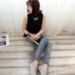 รองเท้าผ้าใบสีเรียบสไตล์แฟชั่นเกาหลี (สีเทา)