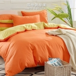 (Pre-order) ชุดผ้าปูที่นอน ปลอกหมอน ปลอกผ้าห่ม ผ้าคลุมเตียง ผ้าฝ้าย สีพื้น สีส้ม