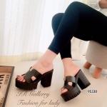 รองเท้าส้นตึก Style Hermes (สีดำ)