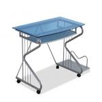 Pre-order โต๊ะทำงาน โต๊ะวางแล็ปท้อป โต๊ะคอมพิวเตอร์พีซี แผ่นท้อปกระจก สีฟ้า