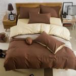 (Pre-order) ชุดผ้าปูที่นอน ปลอกหมอน ปลอกผ้าห่ม ผ้าคลุมเตียง ผ้าฝ้าย สีพื้น สีกาแฟ