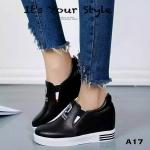 รองเท้าผ้าใบเสริมส้นสกรีนลาย (สีดำ)
