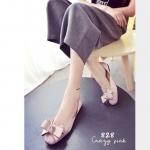 รองเท้าคัทชูซาตินติดโบว์ (สีชมพู)