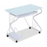 Pre-order โต๊ะทำงาน โต๊ะวางแล็ปท้อป โต๊ะคอมพิวเตอร์พีซี แผ่นท้อปกระจก สีขาว
